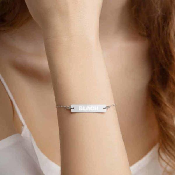 engraved silver bar chain bracelet white rhodium coating 5ff1e3c0f042b