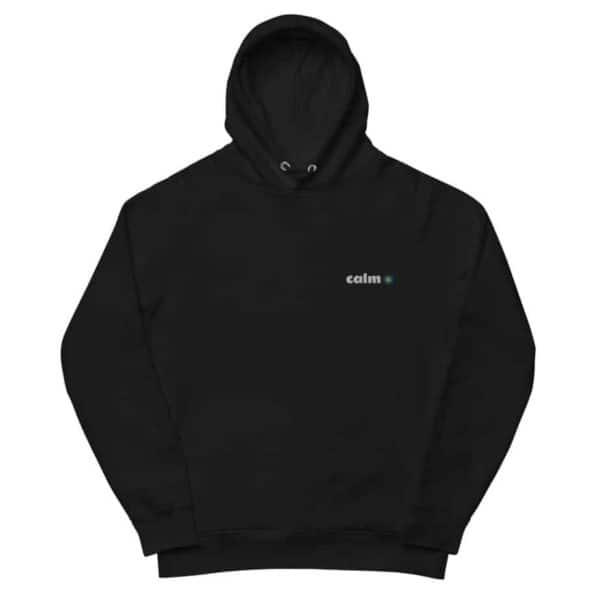 unisex eco hoodie black front 602edbf59e36f