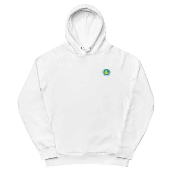 unisex eco hoodie white front 601aec26527b3