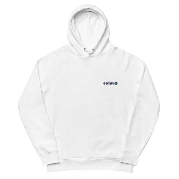 unisex eco hoodie white front 602edb436cc70